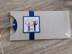 pochette puzzle mariage entre plume et perle