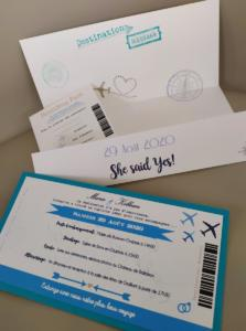 faire-part mariage billet avion